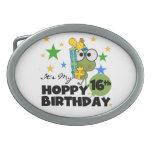 Cumpleaños de lúpulo de Froggie décimosexto Hebillas De Cinturon Ovales