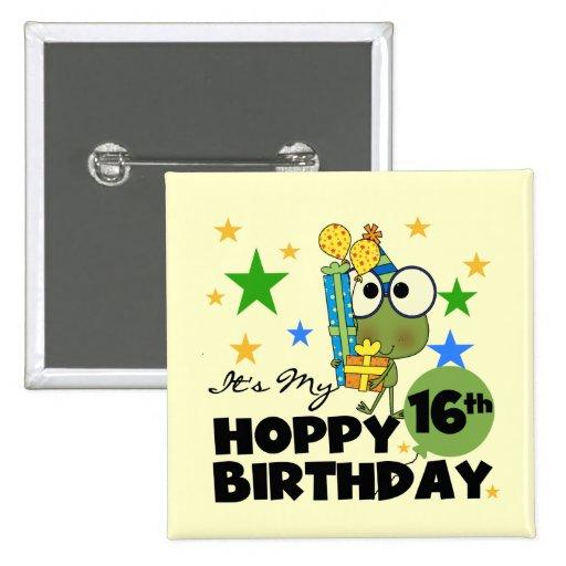 Cumpleaños de lúpulo de Froggie décimosexto Pin
