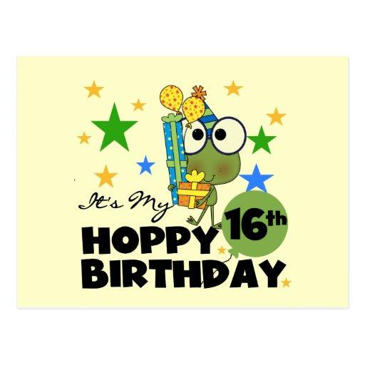 Cumpleaños de lúpulo de Froggie décimosexto Postal