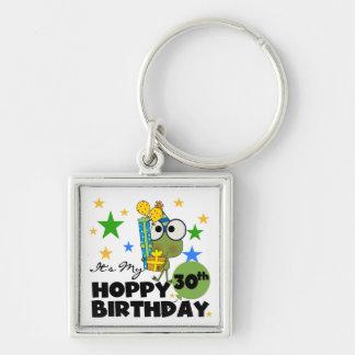 Cumpleaños de lúpulo de Froggie trigésimo Llavero Cuadrado Plateado