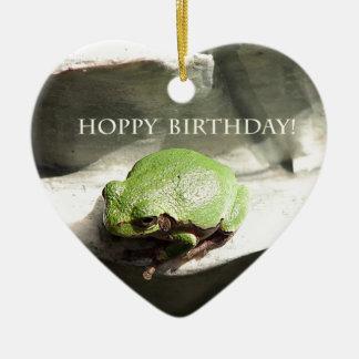 Cumpleaños de lúpulo de la rana adornos de navidad
