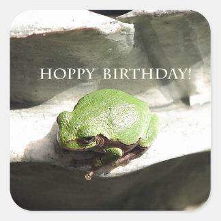 Cumpleaños de lúpulo de la rana pegatina cuadrada