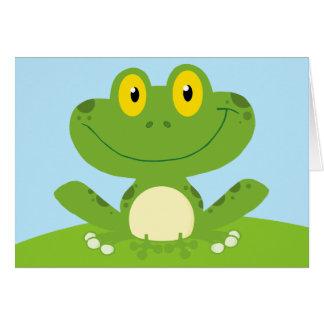 Cumpleaños de lúpulo de la rana verde linda del tarjeta de felicitación