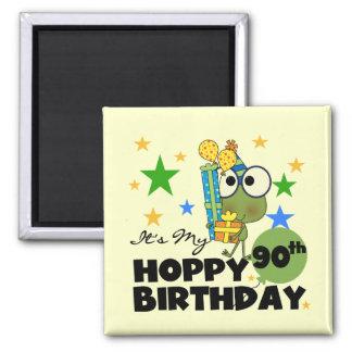 Cumpleaños de lúpulo del Froggy 90.o Imán Cuadrado