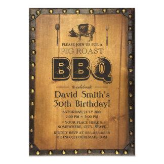 """Cumpleaños de madera 30 sucios del Bbq de la carne Invitación 5"""" X 7"""""""