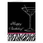 cumpleaños de martini de la cebra tarjeta pequeña