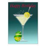 cumpleaños de martini del tenis feliz tarjeta de felicitación