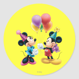 Cumpleaños de Mickey y de Minnie el   Pegatina Redonda