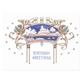Cumpleaños de Nouveau del arte Postal