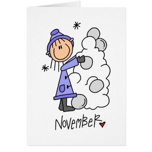 Cumpleaños de noviembre del chica tarjeta de felicitación