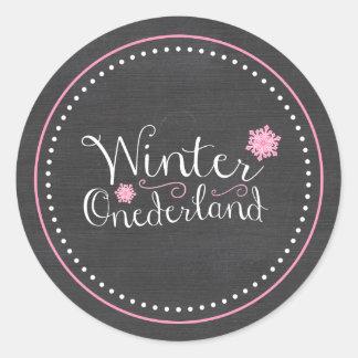 Cumpleaños de Onederland del invierno caprichoso Pegatina Redonda