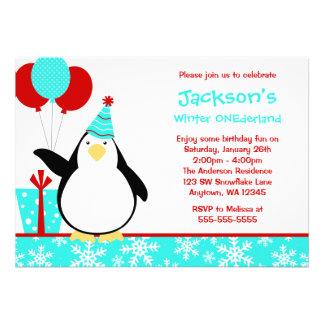 Cumpleaños de Onederland del invierno de los copos Invitacion Personalizada
