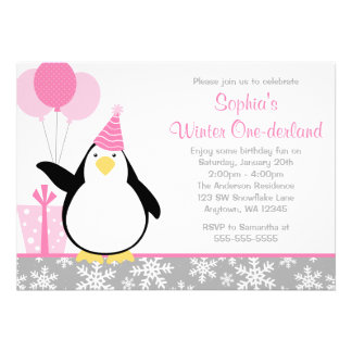 Cumpleaños de Onederland del invierno de los copos Invitacion Personal