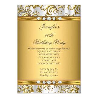 """Cumpleaños de plata blanco del diamante del invitación 5"""" x 7"""""""