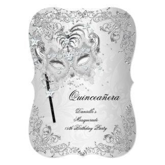 """Cumpleaños de plata de Quinceanera de la mascarada Invitación 5"""" X 7"""""""