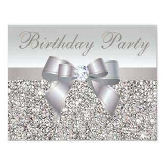 """Cumpleaños de plata impreso de las lentejuelas, invitación 4.25"""" x 5.5"""""""