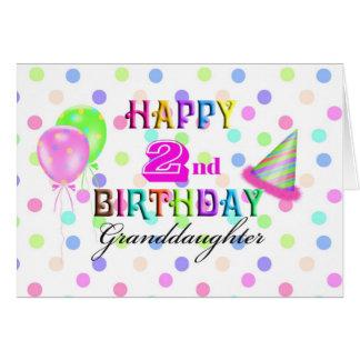 Cumpleaños de Polkadot de la nieta 2do Tarjeton