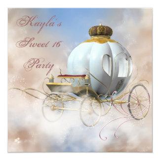 Cumpleaños de princesa Carriage princesa Sweet 16 Invitación 13,3 Cm X 13,3cm