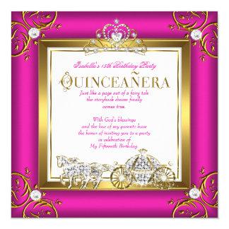"""Cumpleaños de princesa Quinceanera del oro de las Invitación 5.25"""" X 5.25"""""""