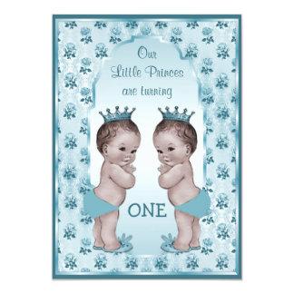 Cumpleaños de príncipe Boy Twins Blue Roses del Invitaciones Personalizada