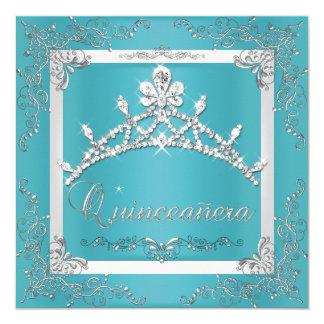 Cumpleaños de Quinceanera de la tiara de plata de Invitación 13,3 Cm X 13,3cm