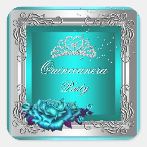 Cumpleaños de Quinceanera de los rosas de plata Pegatina Cuadrada