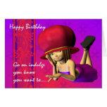 Cumpleaños de Red Hat, niña linda en un gorra rojo Felicitacion
