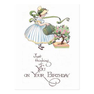 Cumpleaños de riego del vintage de los bonsais del postales