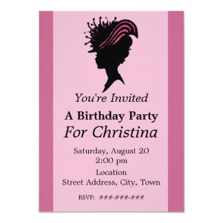 """Cumpleaños de señora Black Silhouette Fancy Hat Invitación 4.5"""" X 6.25"""""""