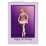 Cumpleaños, décimo quinto, bailarina en rosa y tarjeta de felicitación