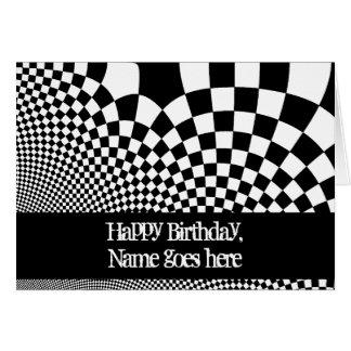 Cumpleaños deformado blanco y negro punky del tarjetas