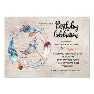 """Cumpleaños del adulto de la guirnalda de la pluma invitación 5"""" x 7"""""""
