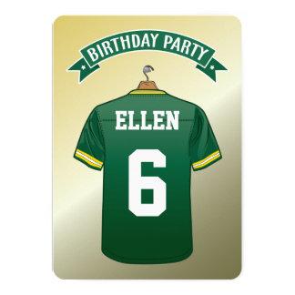 """Cumpleaños del amarillo del verde del jersey del invitación 5"""" x 7"""""""