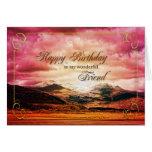 Cumpleaños del amigo, puesta del sol sobre las felicitación