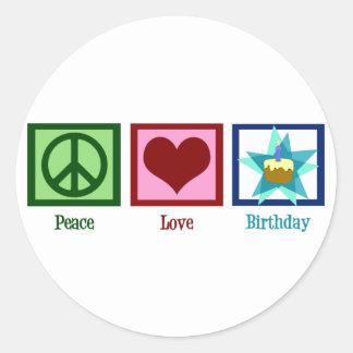 Cumpleaños del amor de la paz pegatinas redondas