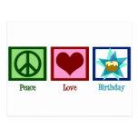 Cumpleaños del amor de la paz postal