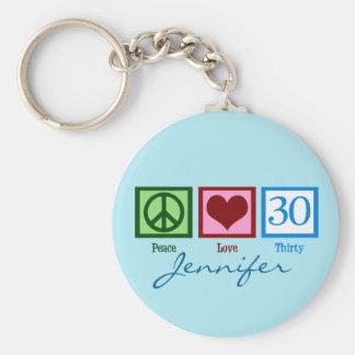 Cumpleaños del amor de la paz trigésimo llavero redondo tipo pin