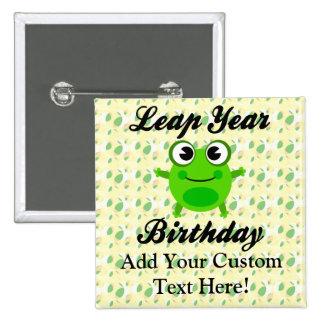 Cumpleaños del año bisiesto, rana linda pin cuadrado
