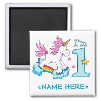 Cumpleaños del arco iris del unicornio 1r imán cuadrado