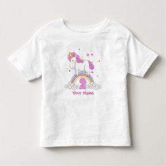 Cumpleaños del arco iris del unicornio 2do playera de bebé