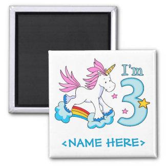 Cumpleaños del arco iris del unicornio 3ro imán cuadrado