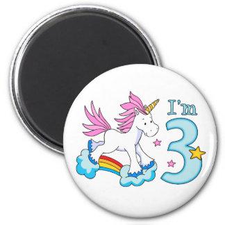 Cumpleaños del arco iris del unicornio 3ro imán redondo 5 cm