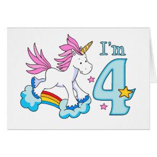 Cumpleaños del arco iris del unicornio 4to tarjeta pequeña