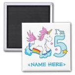 Cumpleaños del arco iris del unicornio 5to imán para frigorifico