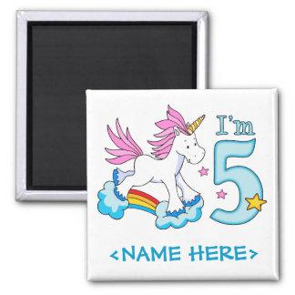 Cumpleaños del arco iris del unicornio 5to imán cuadrado