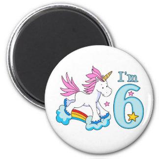 Cumpleaños del arco iris del unicornio 6to imán redondo 5 cm