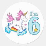 Cumpleaños del arco iris del unicornio 6to pegatina redonda