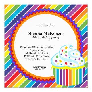 Cumpleaños del arco iris invitacion personalizada