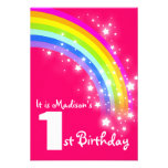Cumpleaños del arco iris púrpura de los niños el 1 anuncios personalizados