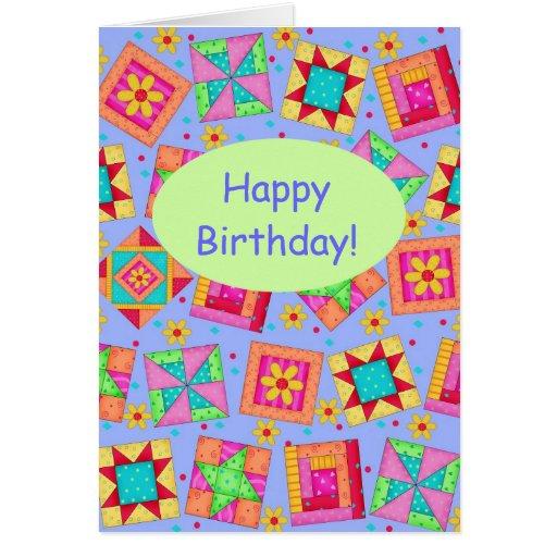 Cumpleaños del arte del bloque del edredón de tarjeton